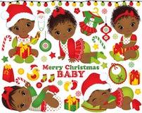 Vektoruppsättningen med afrikanska amerikanen behandla som ett barn flickor som bär julkläder och Xmas-beståndsdelar Royaltyfria Bilder