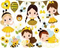 Vektoruppsättningen med gulliga små flickor, bin, honung, sväller och blommar vektor illustrationer