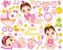 Vektoruppsättningen med gulligt behandla som ett barn flickor som kläs som prinsessor och olik tillbehör vektor illustrationer