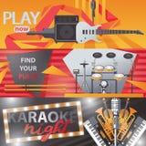 Vektoruppsättningen med ljusa horisontalbaner om att sjunga, bor ljudet, karaoke och spelamusik vektor illustrationer