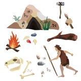 Vektoruppsättningen om stenåldern, urinnevånare mans liv, hans hjälpmedel och hus Det inkluderar grottan, vaggar målning, spjut Royaltyfria Foton