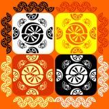 Vektoruppsättningmodell med apelsiner för design Arkivfoton