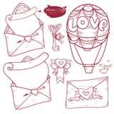 Vektoruppsättningvalentin dag Älskar utdragna illustrationvarianter för handen av meddelandet i kuvertet, bokstaven, ballongen, t stock illustrationer