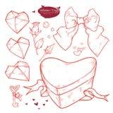 Vektoruppsättningvalentin dag Utdragen illustrationgåva för hand i formen av en hjärta, pilbåge, tangent, hjärtor, rosebuds, pärl vektor illustrationer