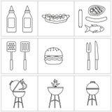 Vektorupps?ttning av grillfestsymboler kontursås och galler och hamburgare stock illustrationer
