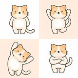 Vektorupps?ttning av gulliga katttecken vektor illustrationer
