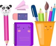 Vektorupps?ttning, samling, illustration med skolatillf?rsel tillbaka skola till stock illustrationer