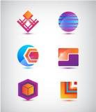 Vektoruppsättning av abstrakta färgrika symboler, logoer Royaltyfri Fotografi