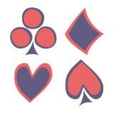 Vektoruppsättning av att spela kortsymboler Hand drog blåa och röda symboler som isoleras på bakgrunderna Royaltyfri Fotografi