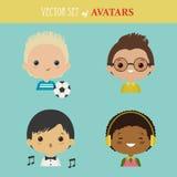 Vektoruppsättning av avatars Arkivbilder
