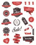 Vektoruppsättning av baner, etiketter, band och klistermärkear Royaltyfri Bild