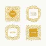 Vektoruppsättning av blom- monogram Royaltyfri Foto