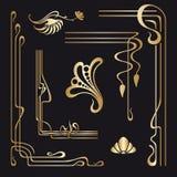 Vektoruppsättning av dekorativa beståndsdelar för jugendstil Royaltyfri Bild