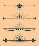 Vektoruppsättning av den calligraphic designbeståndsdelar och sidadekoren Arkivfoton