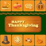 Vektoruppsättning av färgrika tecknad filmbeståndsdelar för tacksägelsedag Arkivbild