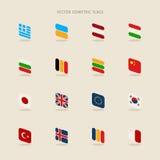 Vektoruppsättning av isometriska flaggor i enkel stil av europeisk union, Fotografering för Bildbyråer