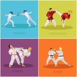 Vektoruppsättning av kampsportfolkkonturn Illustration för sportkämpepositioner Arkivbild
