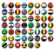 Vektoruppsättning av knappflaggor av Afrika Royaltyfri Bild