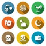 Vektoruppsättning av nattklubbsymboler Musik belysning, drink, lek, droger, natt, skydd, dansare, finans Arkivfoton