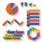 Vektoruppsättning av pilar och diagram för infographic Royaltyfri Bild