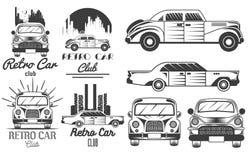 Vektoruppsättning av retro bilklubbalogoer, baner, emblem, etiketter eller emblem och mallar Isolerad monokrom illustration Royaltyfri Fotografi