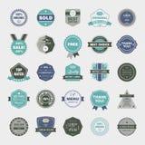 Vektoruppsättning av retro emblem, tappningetiketter, symboler Royaltyfri Fotografi