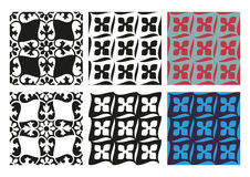 Vektoruppsättning av svartvit tappning för sömlösa blom- modeller Arkivfoto