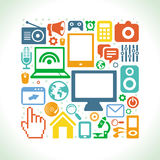 Vektoruppsättning av teknologisymboler i plan stil Royaltyfri Bild