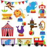 Vektoruppsättning av Themed bilder för gullig cirkus Royaltyfri Bild