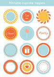 Vektoruppsättning av tryckbara muffintoppers, etiketter Fotografering för Bildbyråer