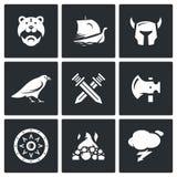 Vektoruppsättning av Viking Icons Krigare skepp, ammunition, gud, strid, vapen, skydd, jordfästning, väder Arkivbild