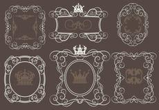 Vektoruppsättning. Calligraphic designbeståndsdelar för din design. Arkivfoto