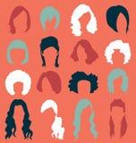 Vektoruppsättning: Kvinnas hårstilar Royaltyfria Bilder