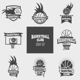 Vektoruppsättningen av basketlogoer, etiketter, förser med märke Arkivbilder