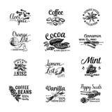 Vektoruppsättningen av efterrätten kryddar logoer, etiketter, emblem Arkivbild