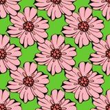 Vektoruppsättningen av handen drog färgrika blommor och bladet förgrena sig illustration som isoleras på grå färger Arkivfoton