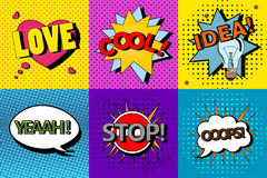 Vektoruppsättningen av komiskt anförande bubblar i stil för popkonst Planlägg beståndsdelar, textmoln, meddelandemallar Royaltyfri Foto