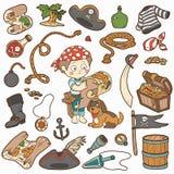 Vektoruppsättningen av piratkopierar objekt, pojken och hunden Royaltyfria Bilder