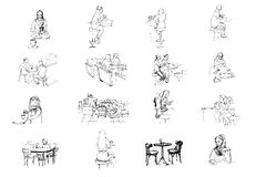 Vektoruppsättningen av skissar av folk som sitter i kafé Royaltyfria Bilder