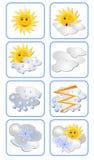 Vektoruppsättningen av väder förutser symboler för allväders- typer Solen har ett uttryck på hans framsida Royaltyfri Fotografi