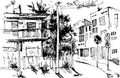 VektorUrban landskap i den drog handen ink linjen stil Den gamla stadsgatan skissar på vit bakgrund illustration Royaltyfria Bilder