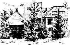 VektorUrban landskap i den drog handen ink linjen stil Den gamla stadsgatan skissar på vit bakgrund illustration Arkivfoto