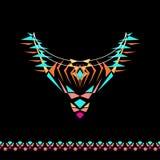 Vektorurringning och gränsdesign för mode Etniskt stam- halstryck Bröstkorgsmyckning i bohostil royaltyfria foton