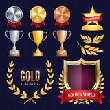 Vektorutmärkelse- och trofésamling Guld- emblem och etiketter Mästerskapdesign 1st 2nd, 3rd ställe guld- Royaltyfri Bild