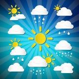 Vektorvädersymboler - moln, sol, regn Arkivbild