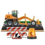 Vektorvägkonstruktion med väghyveln vektor illustrationer