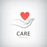 Vektorvälgörenhet, läkarundersökning, omsorg, hjälplogo, symbol Royaltyfri Fotografi