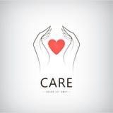 Vektorvälgörenhet, läkarundersökning, omsorg, hjälplogo, symbol Arkivfoton