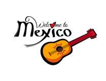 Vektorvälkomnande till den Mexico mallen Royaltyfri Illustrationer