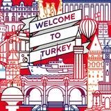 Vektorvälkomnande till den Turkiet loppaffischen stock illustrationer